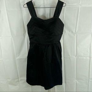 Women's French Kitty Solid Black Sleeveless Back Zip Midi A-Line Dress Size S